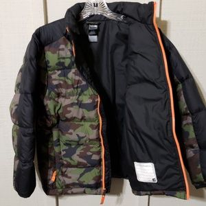New North Face Boy 550 Fill Aconcagua Down Jacket Coat Green Camo XL 18-20